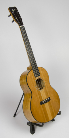 David Dart Cherry Baritone Ukulele, Style 2 (2015): Cherry top, sides, back & neck; ebony fingerboard, binding, bridge, & peghead overlay; abalone Dart logo, soundhole inlay, and fingerboard dots; sterling silver fingerboard side dots