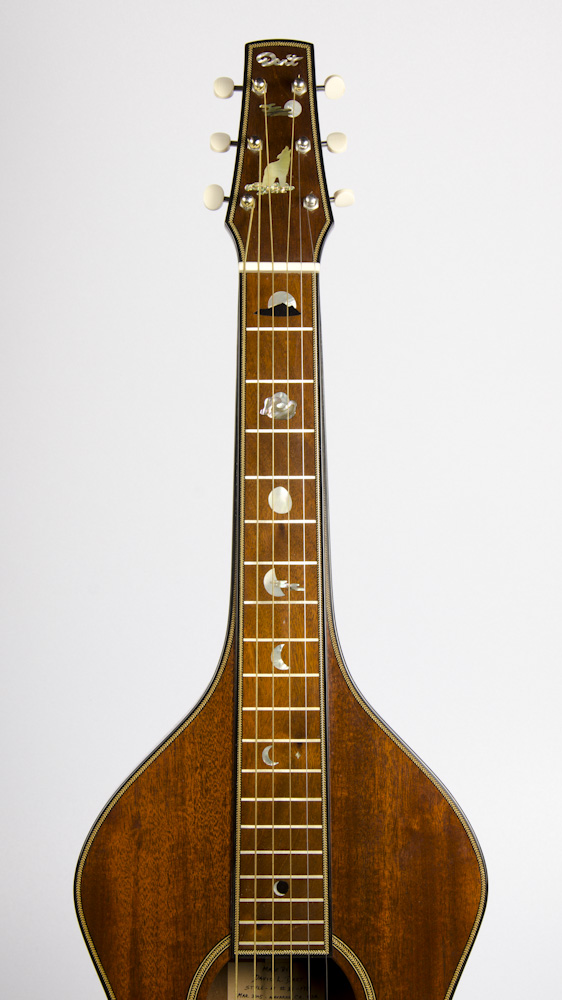 David Dart Howling Wolf & Full Moon peghead & fingerboard inlay (abalone, mother-of-pearl, & ebony), from a Hawaiian Steel Guitar