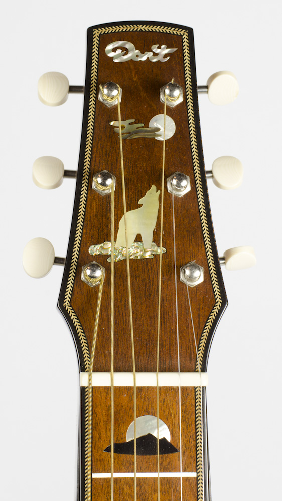 David Dart Howling Wolf & Full Moon peghead inlay (abalone & mother-of-pearl), from a Hawaiian Steel Guitar