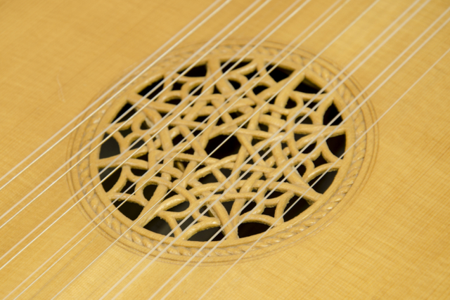 David Dart Lute Soundhole Carving